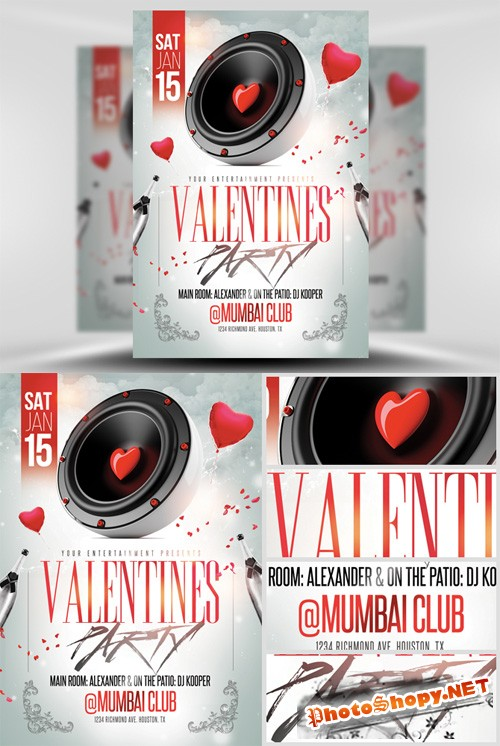 Valentines Speaker Party Flyer Template
