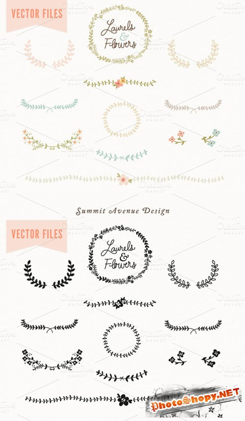 Laurel & Flowers Vintage Vector - CM 5277