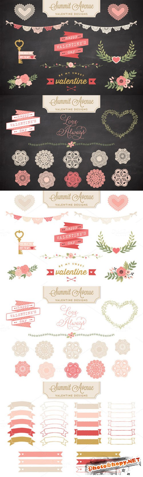 Valentine Bunting & Floral Bundle - Vector and PNG - CM 21316
