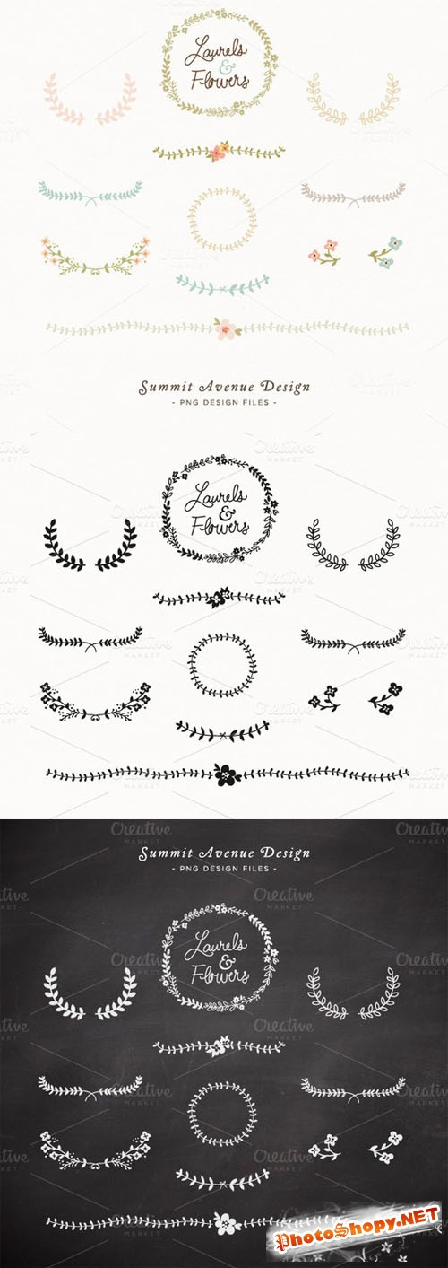 Laurel and Flowers design elements - CM 5068