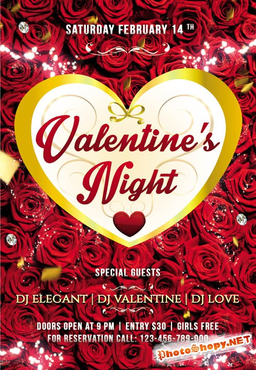 Flyer PSD Template - Valentines Night Party