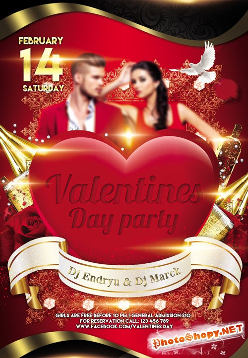 Flyer PSD Template - Valentines Day Party 2