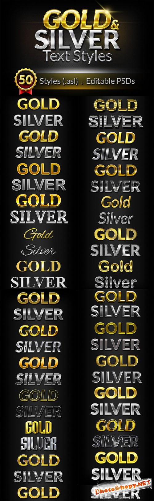 50 Gold & Silver Text Styles - CM 46314