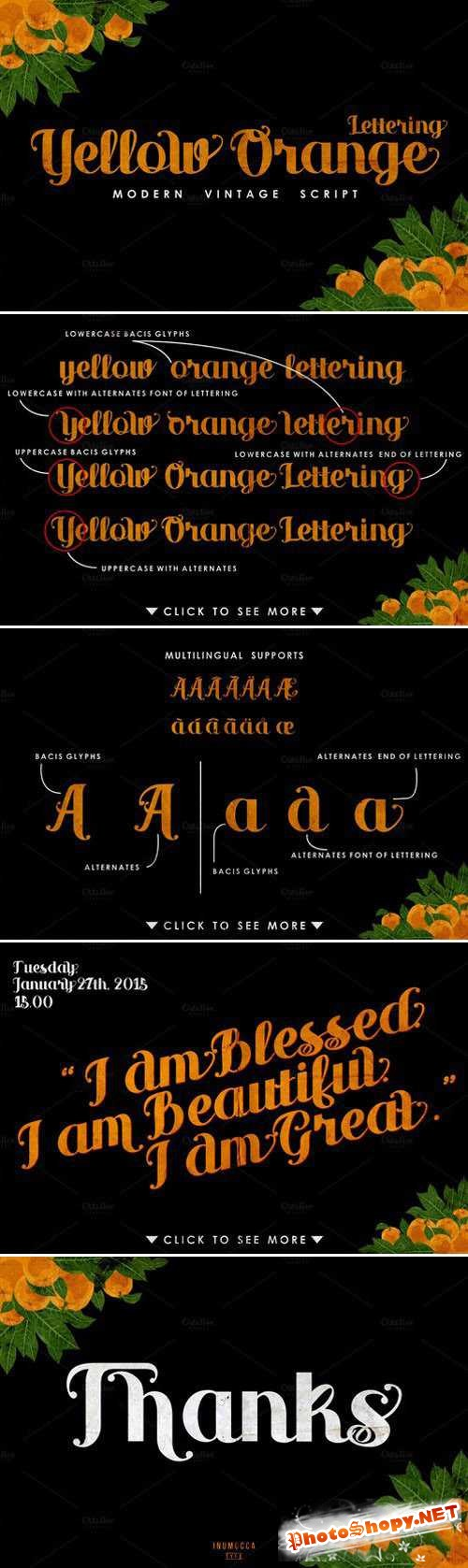 Yellow Orange Lettering Font