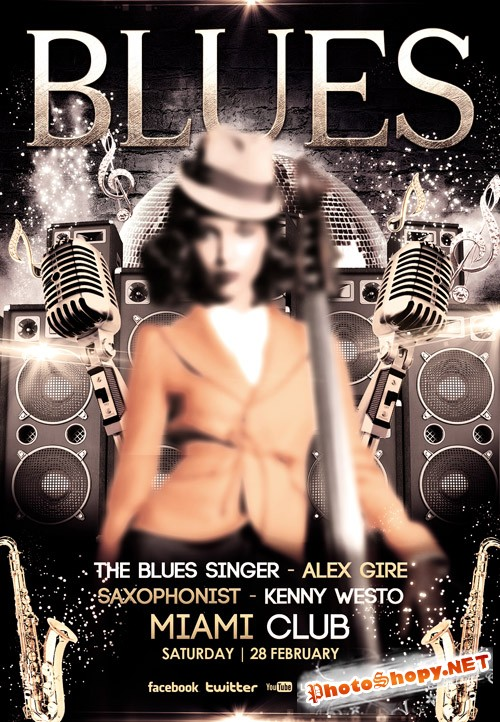Flyer PSD Template - Blues Club