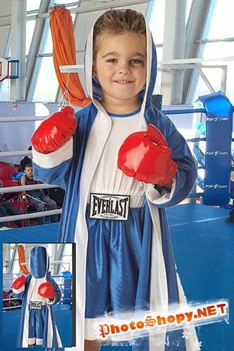 Детский фотошаблон - Будущая звезда бокса