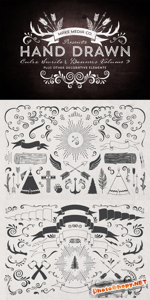 Hand Drawn Curls & Banners Vol. 3 - CM 25807