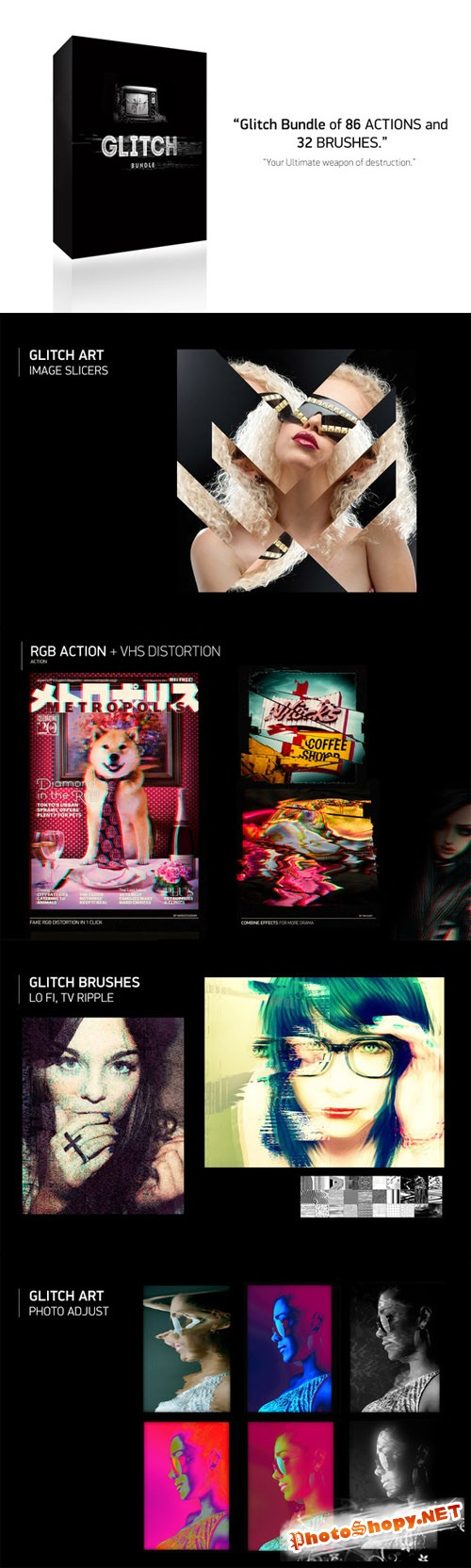 Glitch Bundle: 86 Actions + 32 Brush - CM 50828