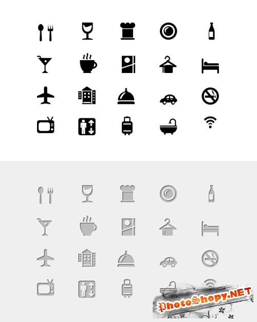 20 Hotel And Restaurant Glyph Icons (Vector PSD) - GraphicsFuel