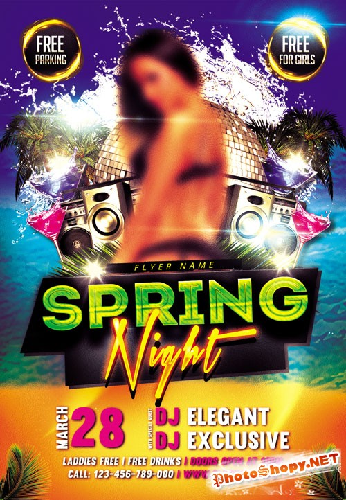 Club flyer PSD Template - Spring Night
