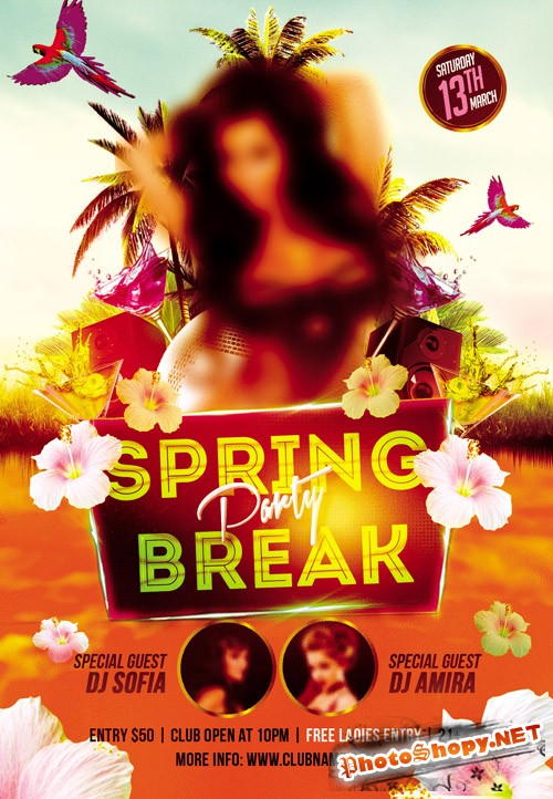 Flyer PSD Template - Spring Break