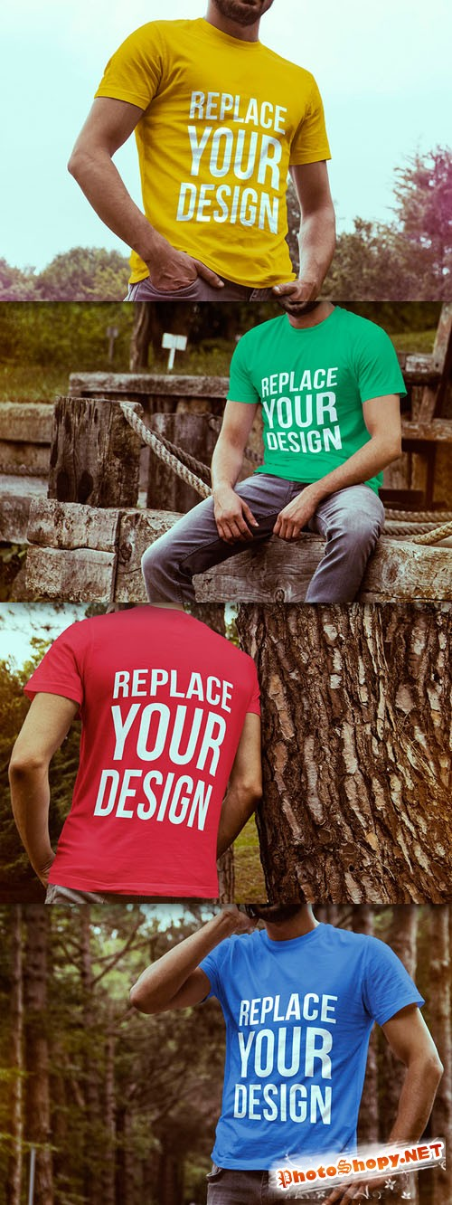 4 Colored T-shirt Mock-up Templates