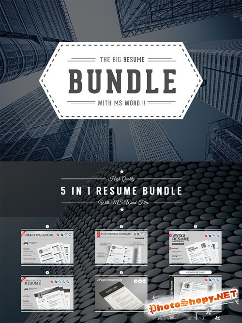 5 in 1 Resume/CV Bundle With MS Word - CM 143836