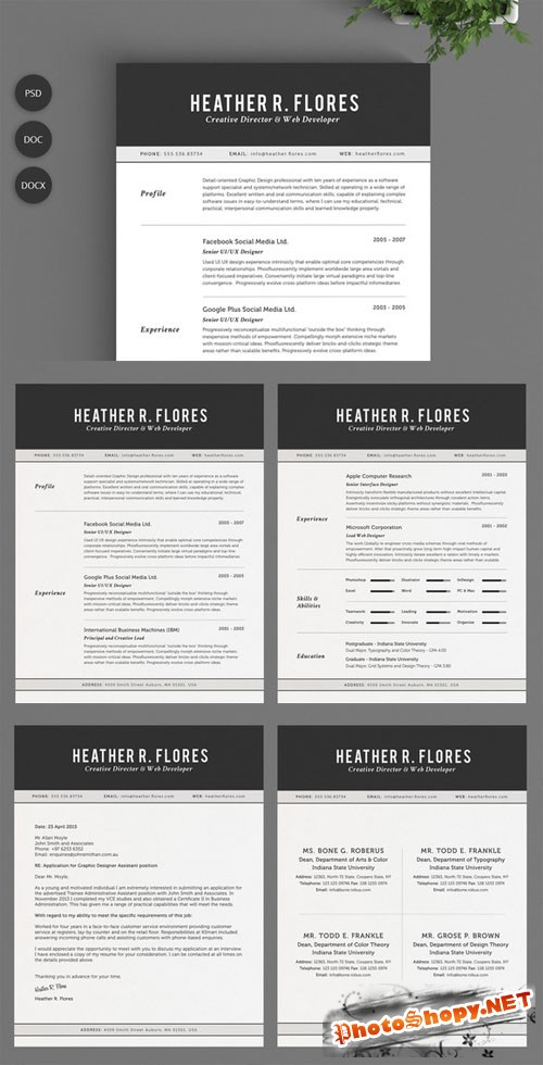 2 Pages Resume Set | CV Template - CM 132119