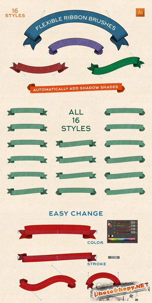 Flexible Vintage Ribbon Brushes - Creativemarket 206966