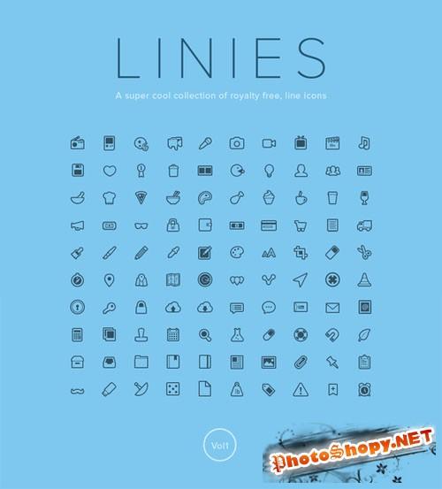 Linies - Line icon set - Creativemarket 43481
