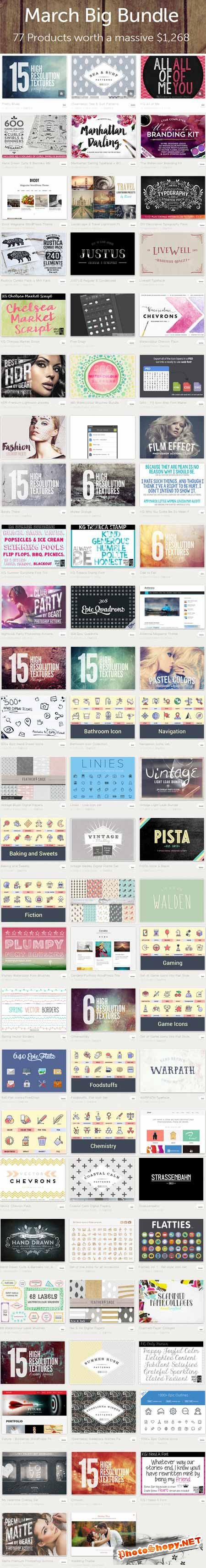 March Big Bundle 2015 - 77 Premium Creativemarket Items