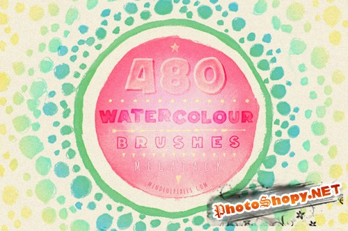 480 Watercolour Photoshop Brushes Bundle