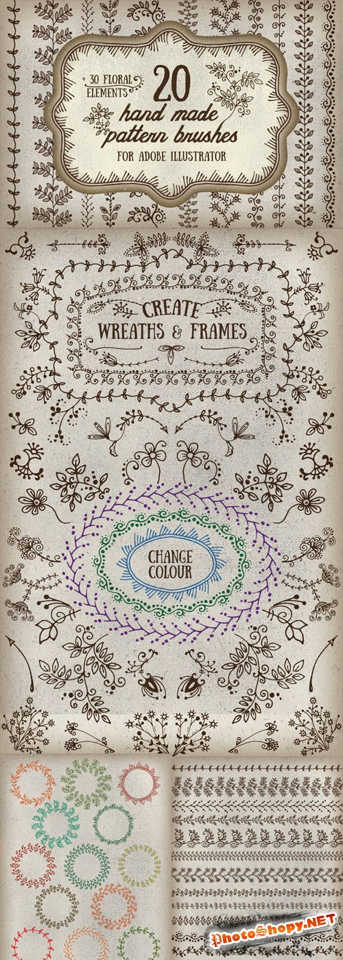 Handmade pattern brushes for AI - Creativemarket 197492