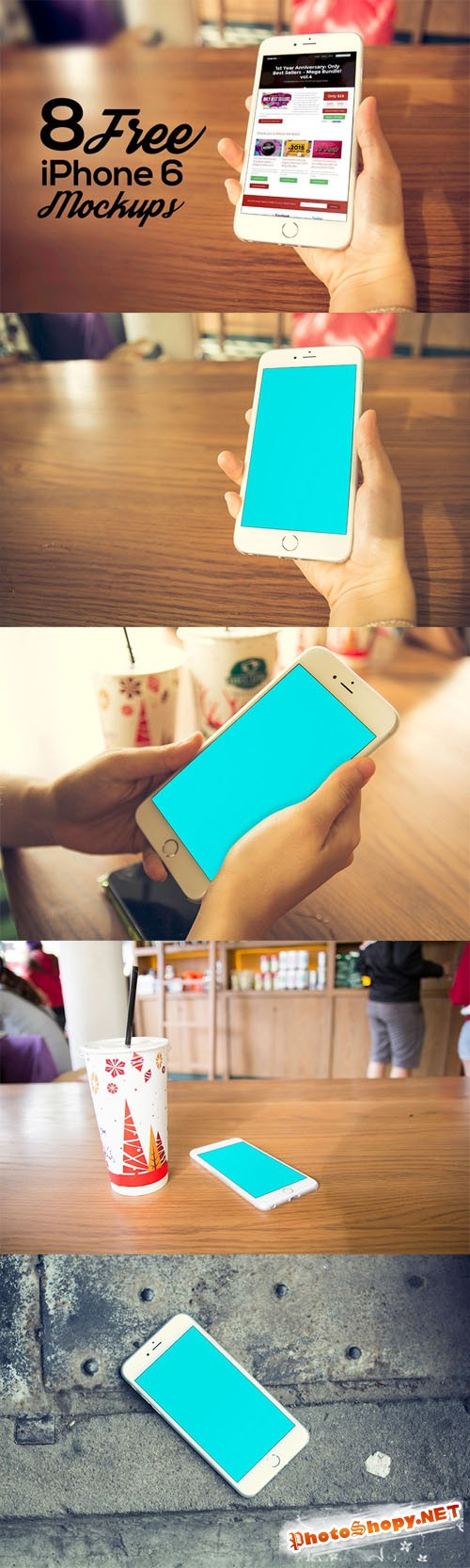 8 iPhone 6 PSD Mock-Up Templates