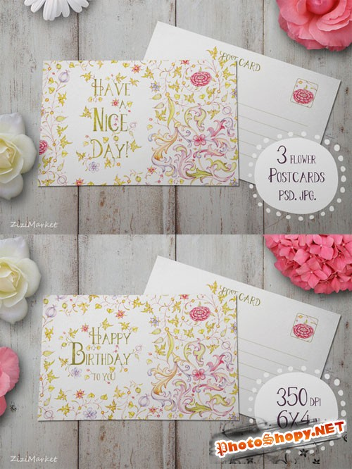 3 Flower Postcard - Creativemarket 166675