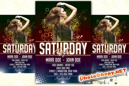 Saturday Night Party Flyer - Creativemarket 203454