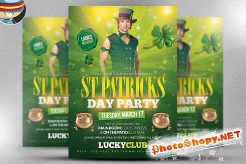 St. Patrick's Party Flyer Template 2 - Creativemarket 190289