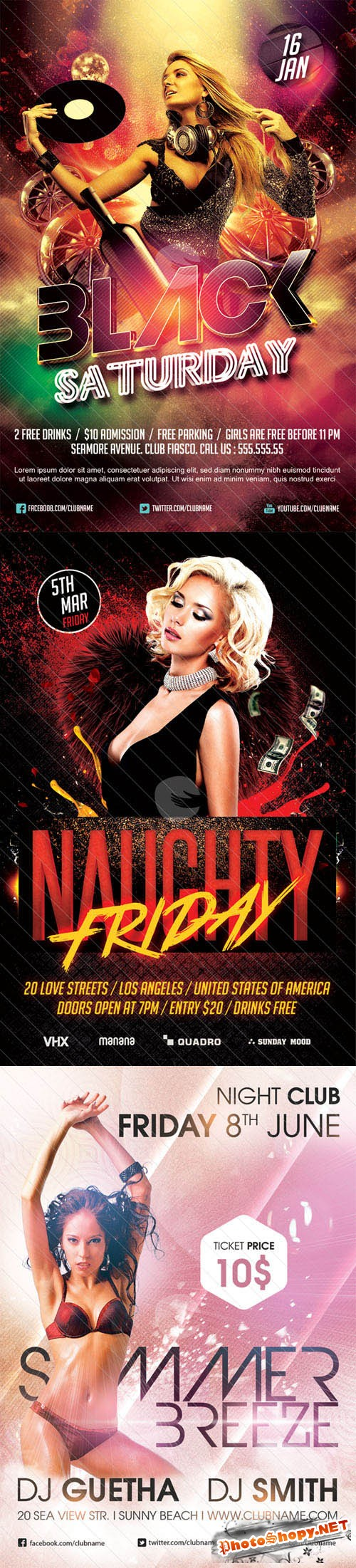 3 Night Club Party Flyer PSD Templates