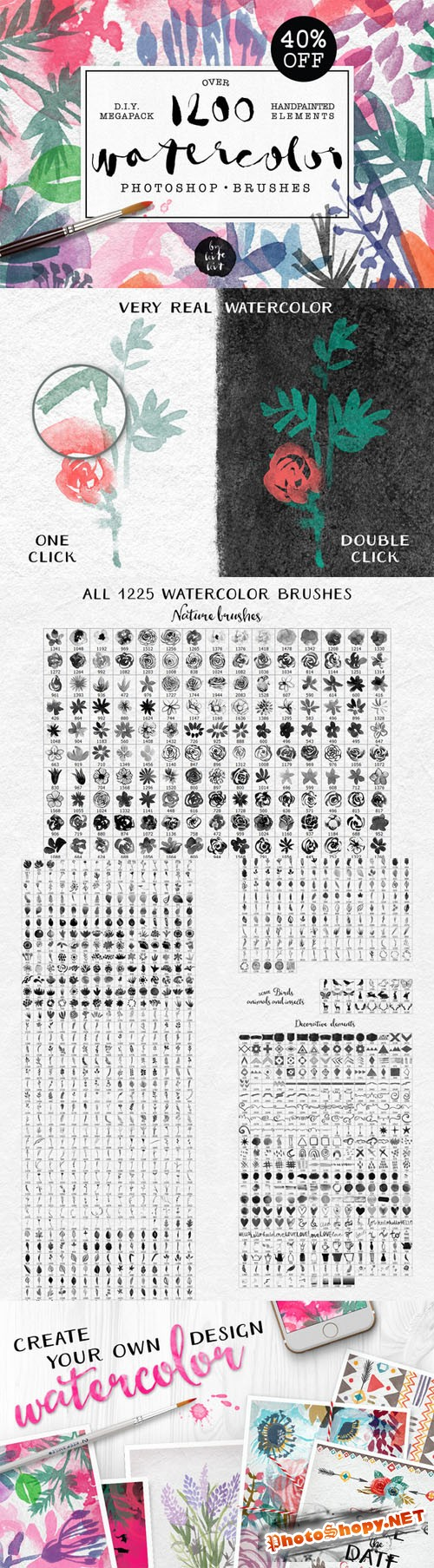 Watercolor PS Brushes 1200+ Creativemarket 210299