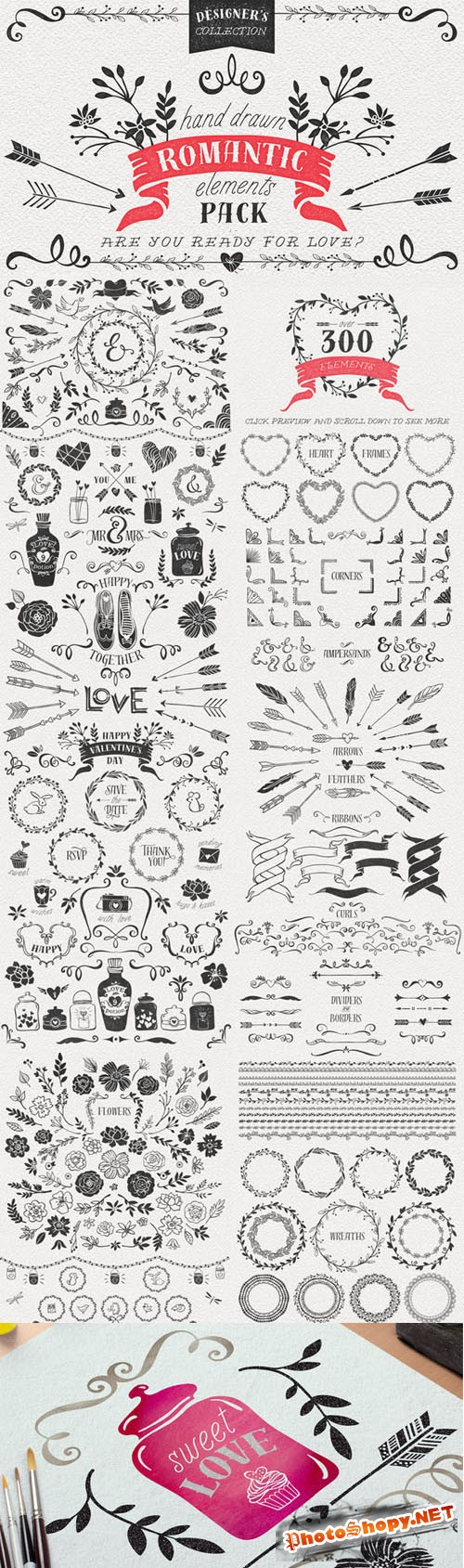 Hand Drawn Romantic Decoration Pack - Creativemarket 167958