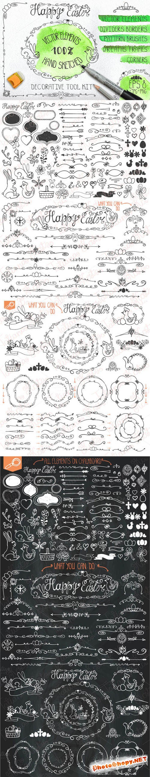 Easter hand drawing decor set 01 - Creativemarket 224932