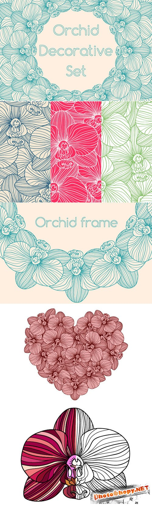 Decorative Orchid Set - Creativemarket 224931