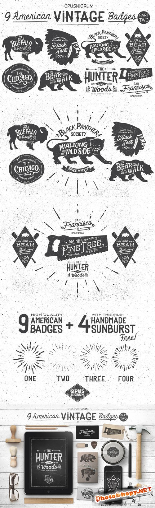 American Vintage Badges Part.2 - Creativemarket 48070