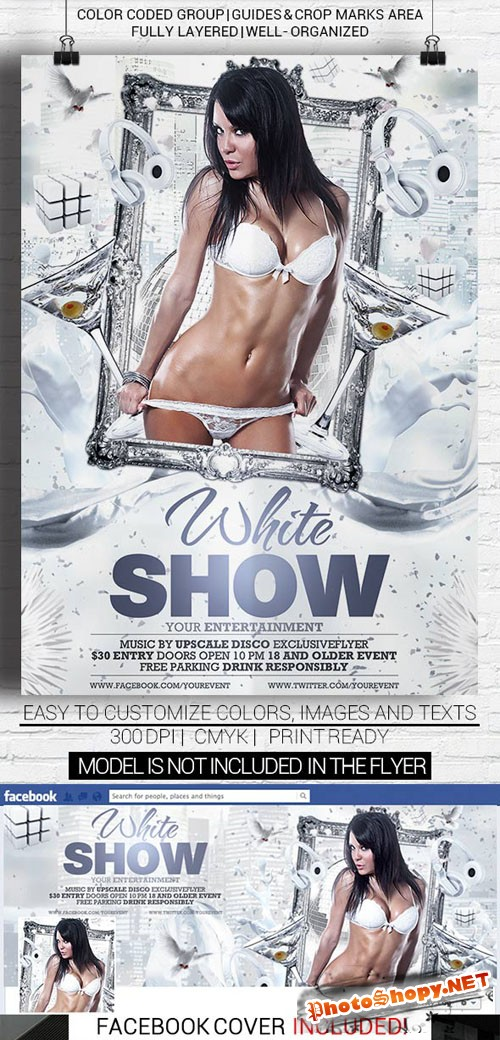 Flyer Template - White Show Facebook Cover