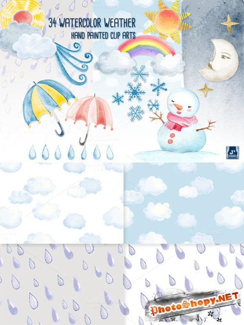 Watercolor Weather Clip Art Bundle - Creativemarket 37408