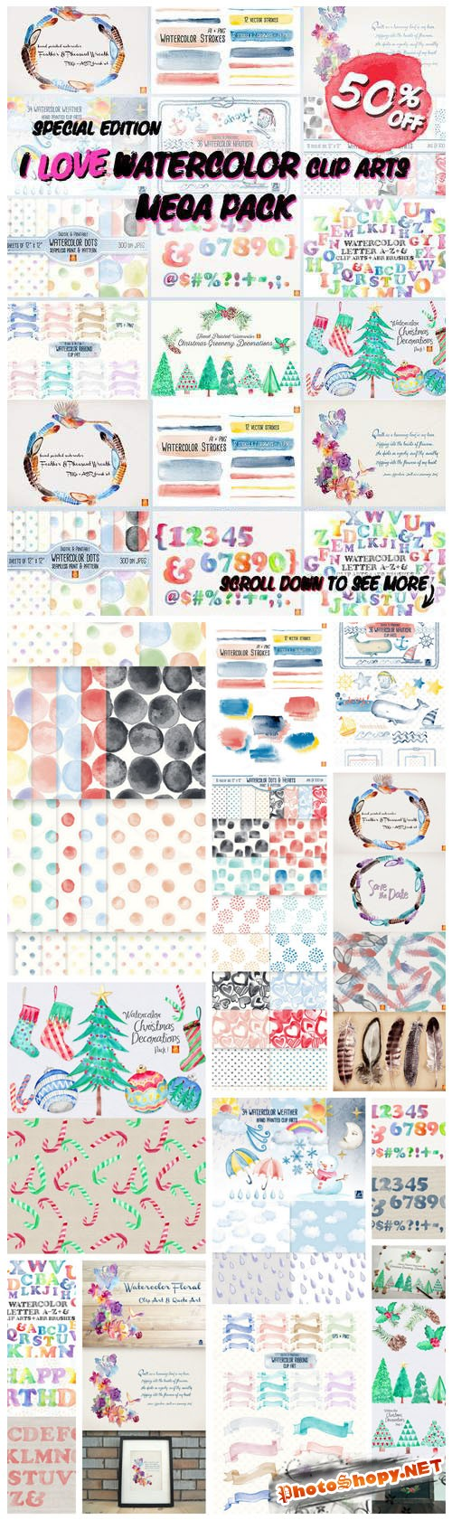 I LOVE Watercolor Clip Art MEGA Pack - Creativemarket 182793