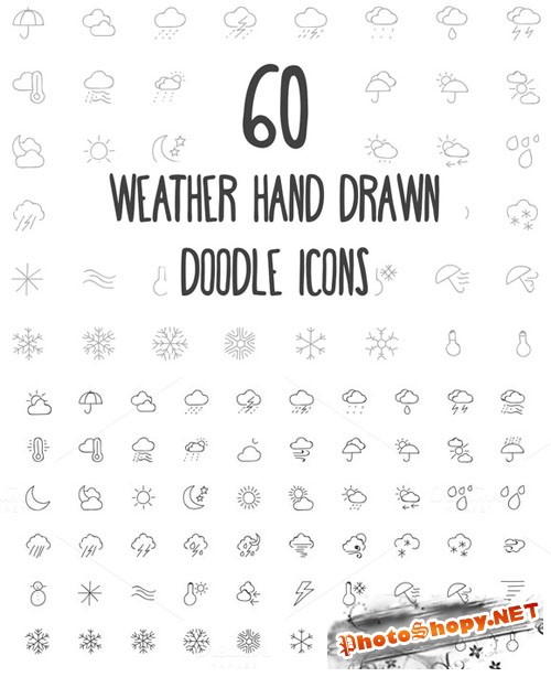 60 Weather Hand Drawn Doodle Icons - Creativemarket 160684