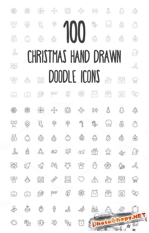 100 Christmas Hand Drawn Icons - Creativemarket 160685