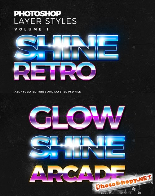 Shine and Glow Text Effect Photoshop Styles