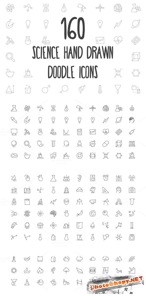 160 Science Hand Drawn Doodle Icons - Creativemarket 160808