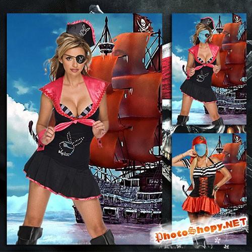 Женский фотошаблон - Очаравательная пиратка