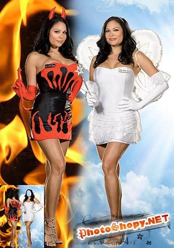 Женский фотошаблон  - Ангел и демон