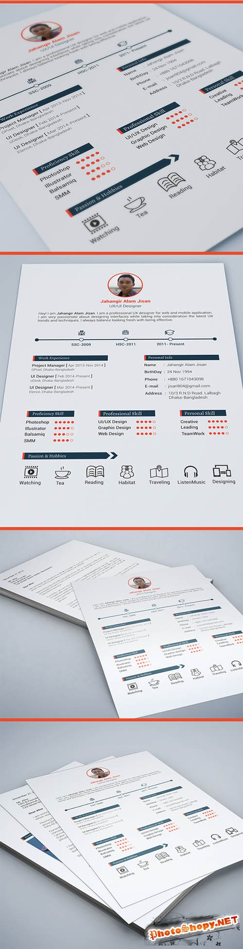 Resume Template 3 page PSD