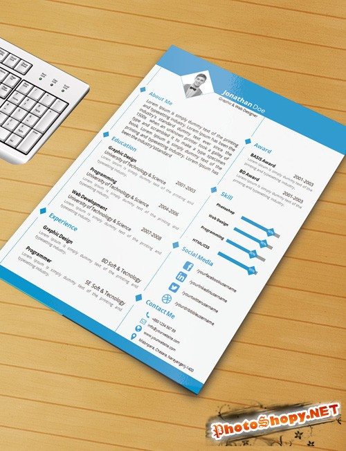 Resume Template with Ms word file PSD