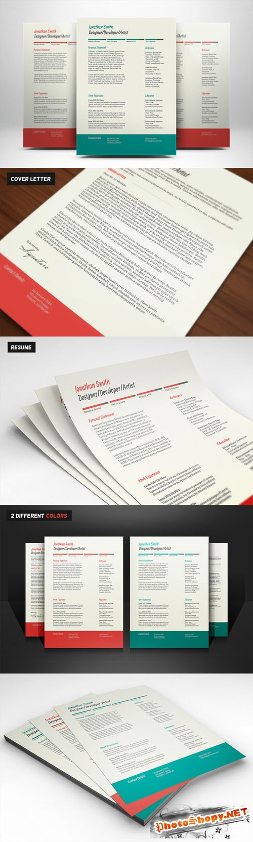 Resume & Cover Letter PSD Template
