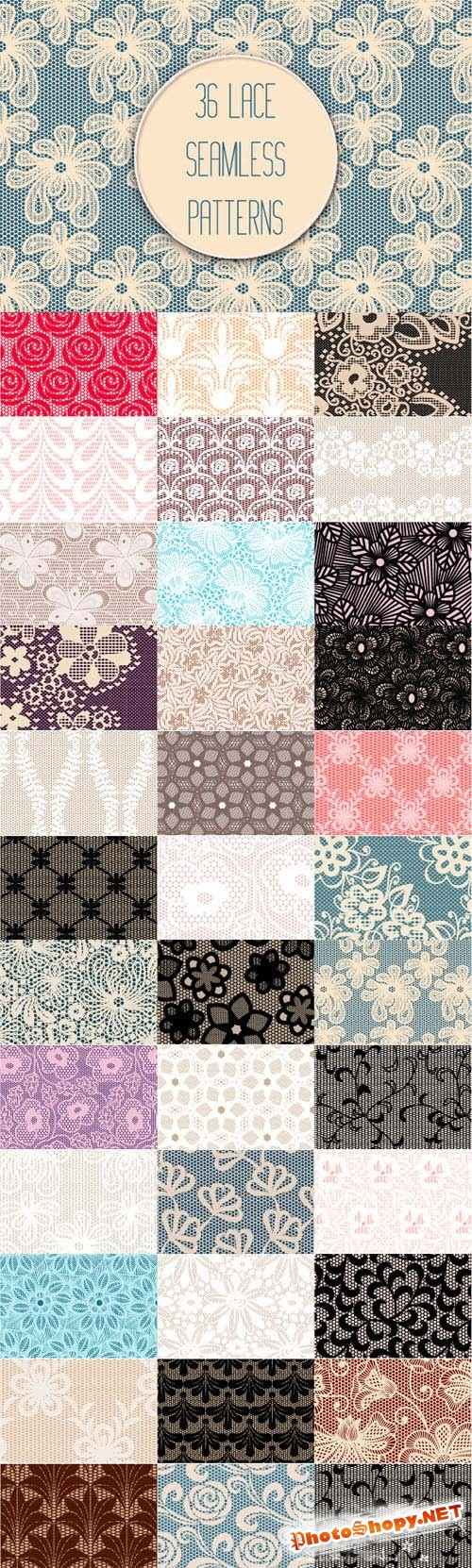 Set of 36 Lace Seamless Patterns - Creativemarket 188906