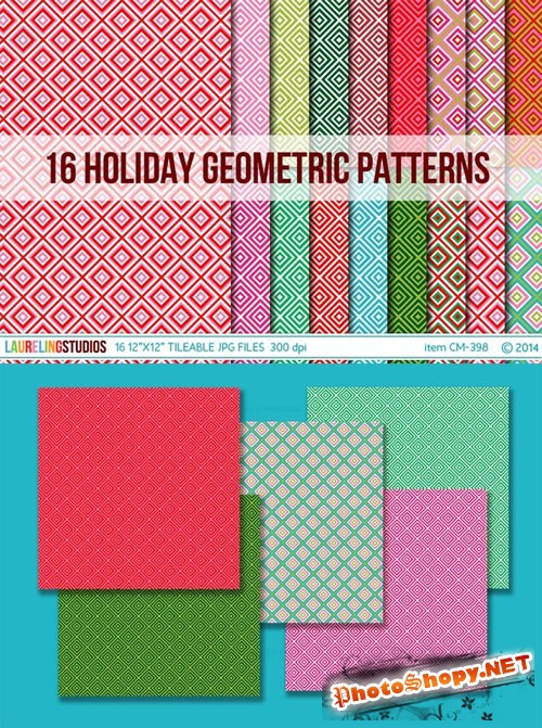 Tileable Holiday Geometric Patterns - Creativemarket 104598