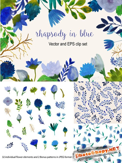 Watercolor blue flower vector set - Creativemarket 222844