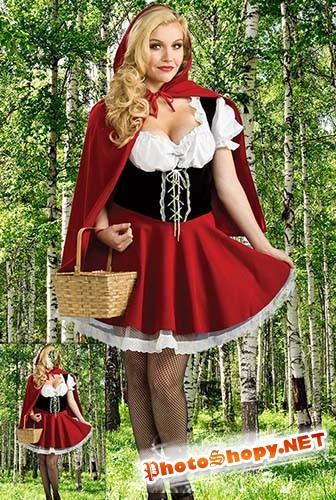 Женский фотошаблон - Красная шапочка в березовой роще