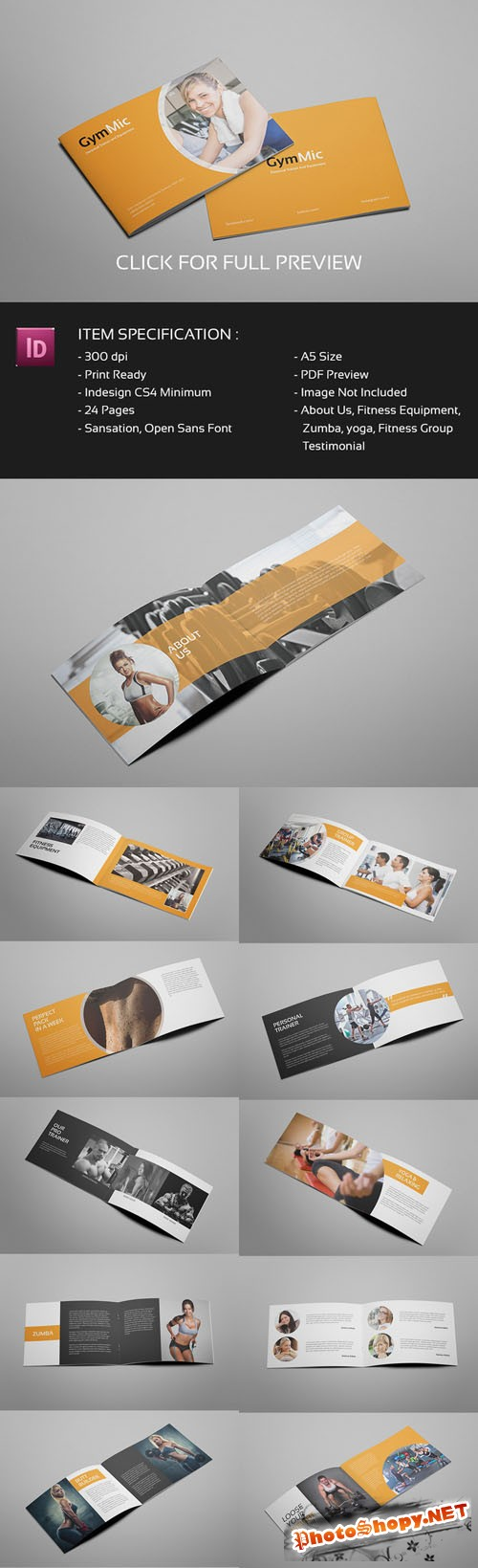 Gymmic - A5 Fitness and Gym Brochure - Creativemarket237268